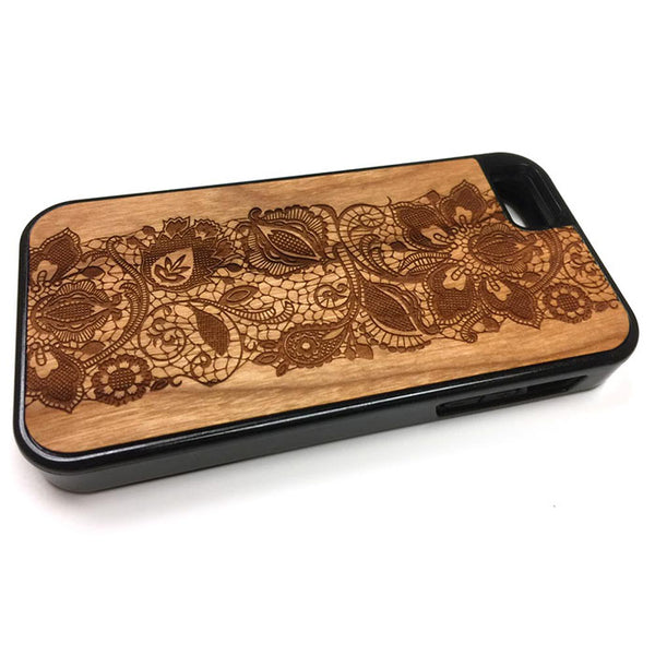 Lace Flower design1 iPhone Case Carved Engraved design on Real Natural Wood - For iPhone 7/8, 6/6s, 6/6s Plus, SE, 5/5s, 5C, 4/4s