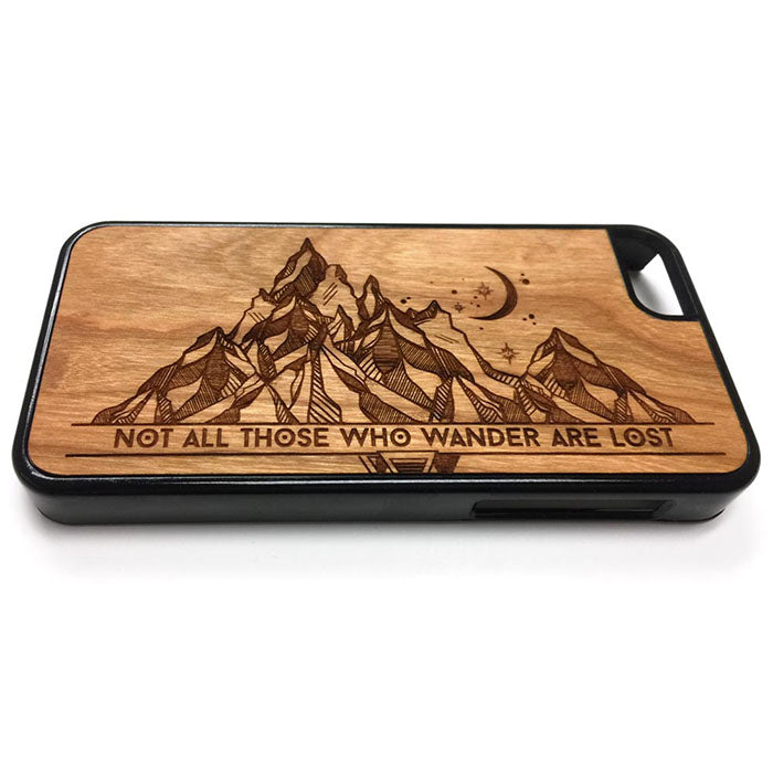 Not all those who wander are lost iPhone Case Carved Engraved design on Real Natural Wood - For iPhone X/XS, 7/8, 6/6s, 6/6s Plus, SE, 5/5s, 5C, 4/4s
