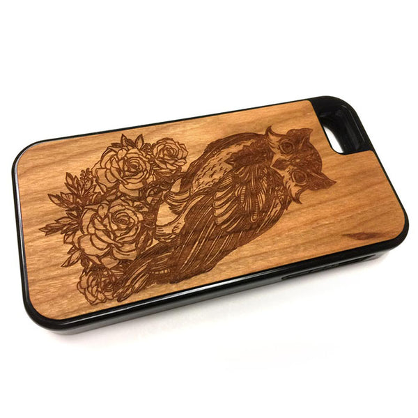 Owl with Flowers01 iPhone Case Carved Engraved design on Real Natural Wood - For iPhone 7/8, 6/6s, 6/6s Plus, SE, 5/5s, 5C, 4/4s