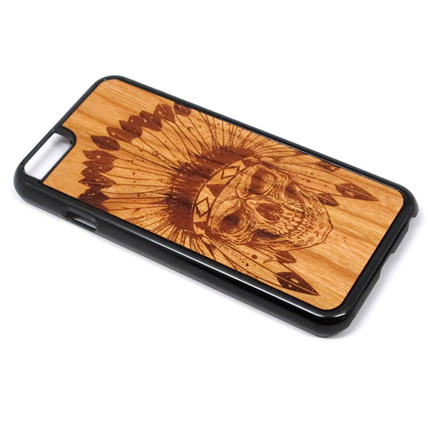 Skull Boho Graphic iPhone Case Carved Engraved design on Real Natural Wood - For iPhone 7/8, 6/6s, 6/6s Plus, SE, 5/5s, 5C, 4/4s