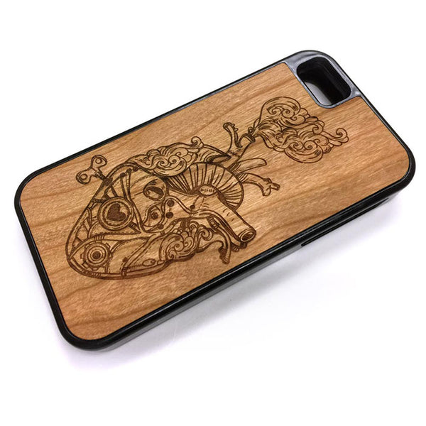 Steampunk Heart 01 iPhone Case Carved Engraved design on Real Natural Wood - For iPhone 7/8, 6/6s, 6/6s Plus, SE, 5/5s, 5C, 4/4s