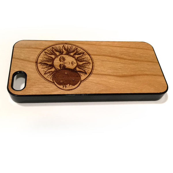 Sun and Moon design iPhone Case Carved Engraved design on Real Natural Wood - For iPhone 7/8, 6/6s, 6/6s Plus, SE, 5/5s, 5C, 4/4s