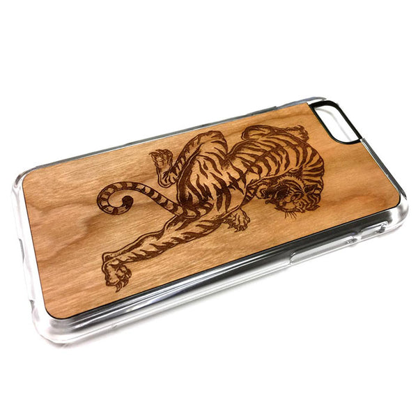 Tiger Carving 01 iPhone Case Carved Engraved design on Real Natural Wood - For iPhone 7/8, 6/6s, 6/6s Plus, SE, 5/5s, 5C, 4/4s