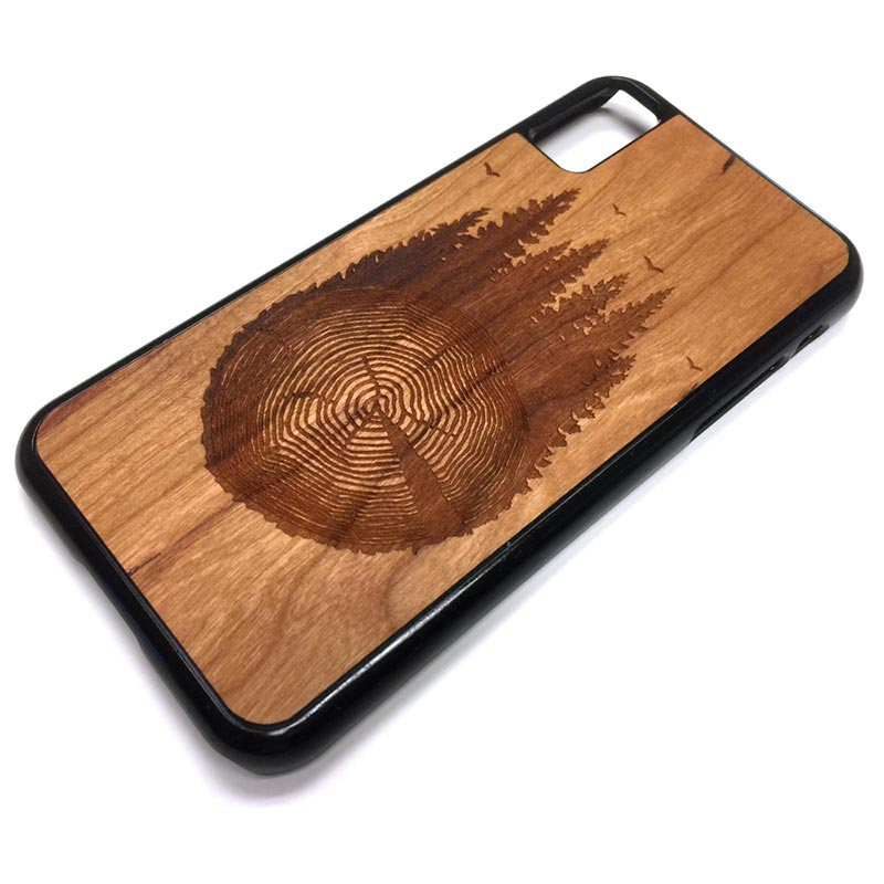 Trees Rings and Birds iPhone Case Carved Engraved design on Real Natural Wood - For iPhone X/XS, 7/8, 6/6s, 6/6s Plus, SE, 5/5s, 5C, 4/4s