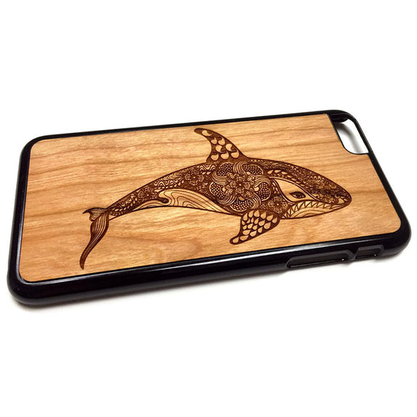 Whale Design iPhone Case Carved Engraved design on Real Natural Wood - For iPhone 7/8, 6/6s, 6/6s Plus, SE, 5/5s, 5C, 4/4s