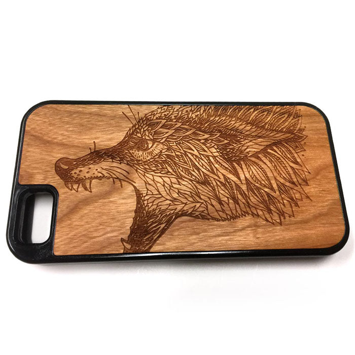 Wolf Tribal design3 iPhone Case Carved Engraved design on Real Natural Wood - For iPhone X/XS, 7/8, 6/6s, 6/6s Plus, SE, 5/5s, 5C, 4/4s