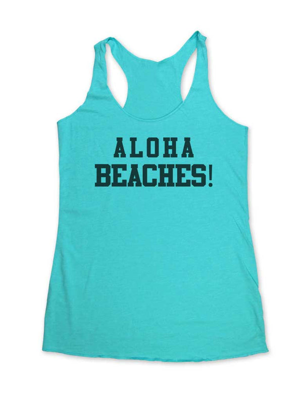 Aloha Beaches - Soft Tri-Blend Racerback Tank - Fitness workout gym exercise tank