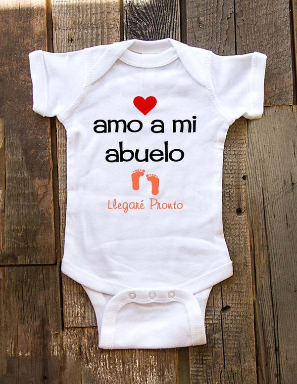 Amo a mi abuelo Llegare pronto - baby onesie spanish birth pregnancy announcement - Baby One-Piece Bodysuit