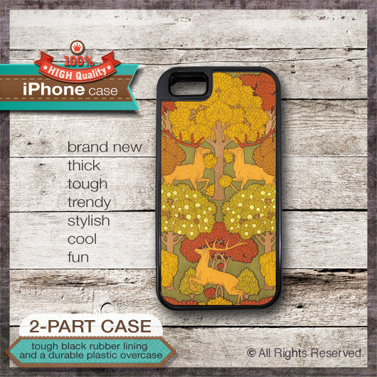 Art Deco Deers Design 4 - Choose from iPhone 4/4S, 5/5S, 5C, Samsung Galaxy S3 or S4 Case