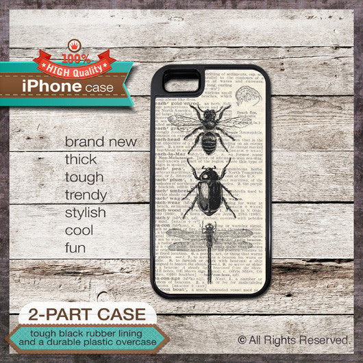 Bee Beetle Dragonfly Design - Choose from iPhone 4/4S, 5/5S, 5C, Samsung Galaxy S3 or S4 Case as featured on AUXILIARY MAGAZINE DECEMBER / JANUARY 2013 / 2014 ISSUE