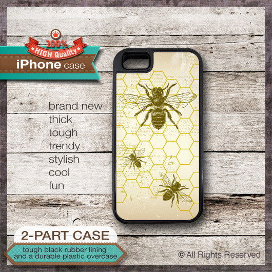 Bee on Honeycomb Design - Choose from iPhone 4/4S, 5/5S, 5C, Samsung Galaxy S3 or S4 Case