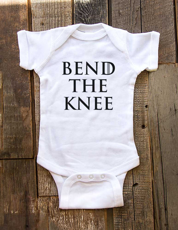Bend The Knee funny GOT Game of Thrones parody Jon Snow White Walkers Baby Onesie One-Piece Bodysuit, Infant, Toddler Youth Shirt