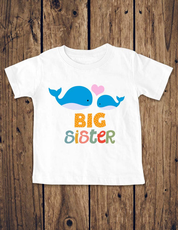 Big Sister Whales Design 1 - Baby Birth Pregnancy Announcement Infant, Toddler, Youth Shirt