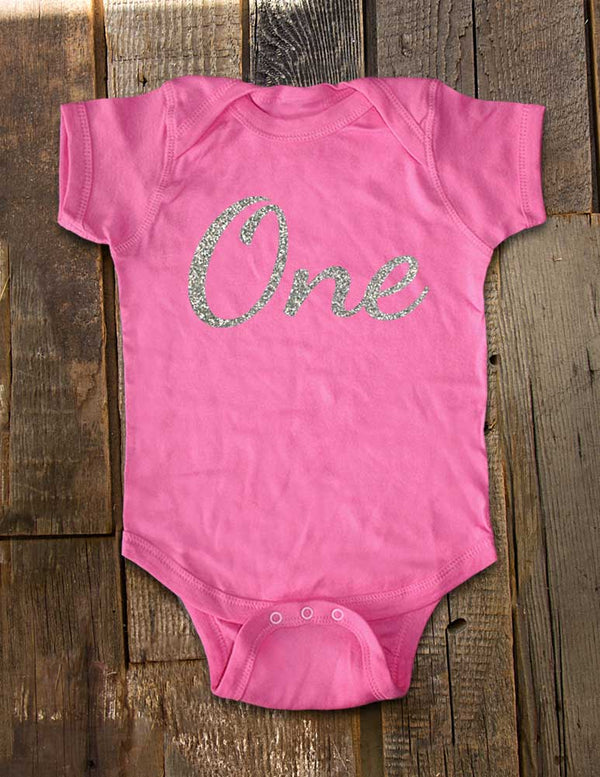 Birthday Girl Bodysuit with Age One - Script Font with Glitter - First Birthday - Design2