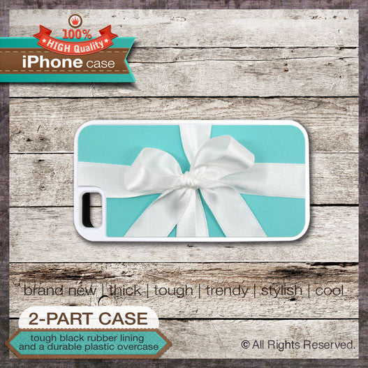 Blue Box with White Bow Design - Choose from iPhone 6, 5/5S, 4/4S, 5C, Samsung Galaxy S5, S4, or S3