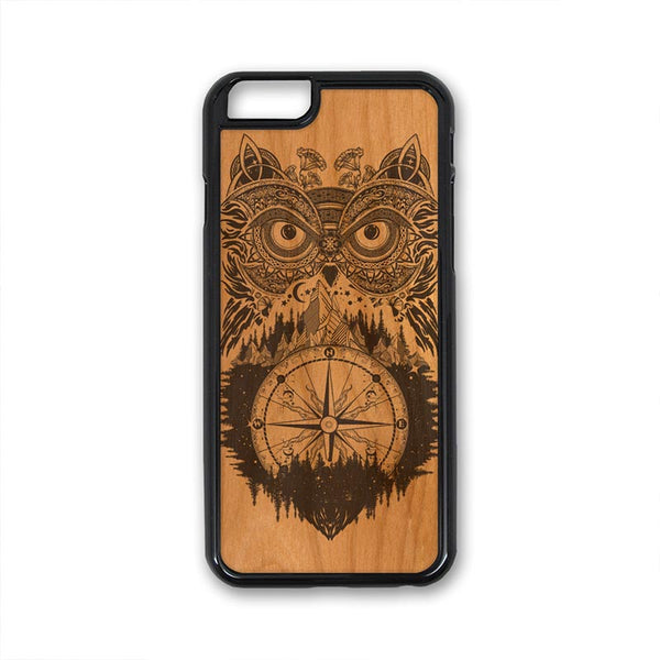 Boho Owl Mountains Compass iPhone Case Carved Engraved design on Real Natural Wood - For iPhone X/XS, 7/8, 6/6s, 6/6s Plus, SE, 5/5s, 5C, 4/4s