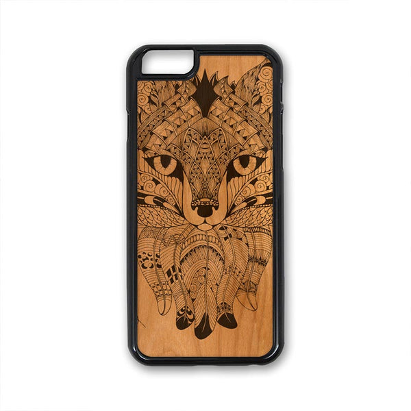 Boho Fox Feather Patterns iPhone Case Carved Engraved design on Real Natural Wood - For iPhone X/XS, 7/8, 6/6s, 6/6s Plus, SE, 5/5s, 5C, 4/4s