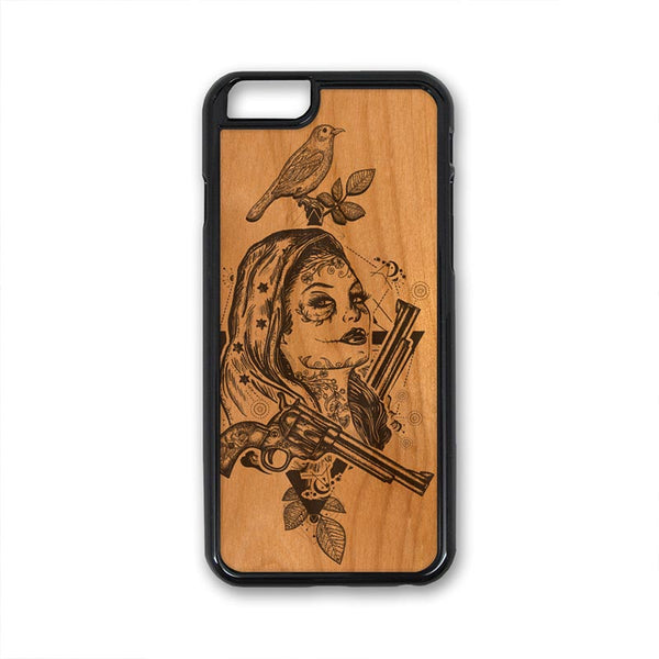 Boho Girl Tattoo art guns bird iPhone Case Carved Engraved design on Real Natural Wood - For iPhone X/XS, 7/8, 6/6s, 6/6s Plus, SE, 5/5s, 5C, 4/4s