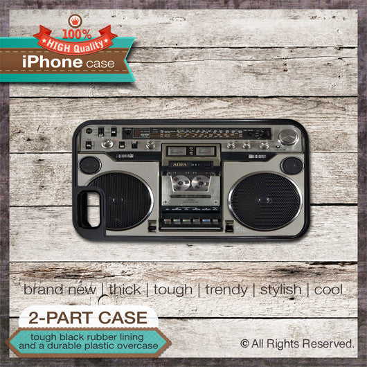 Boombox Design 1 - Choose from iPhone 4/4S, 5/5S, 5C, Samsung Galaxy S3 or S4 Case