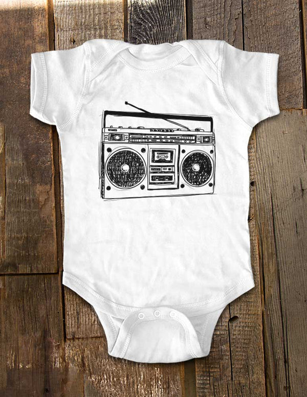 Boombox vintage retro music radio graphic - Baby One-Piece Bodysuit, Infant, Toddler Shirt