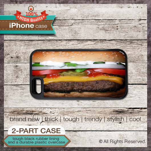 Burger Design 1 - Choose from iPhone 4/4S, 5/5S, 5C, Samsung Galaxy S3 or S4 Case
