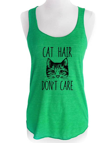 Cat Hair Don't Care (design4) - Soft Tri-Blend Racerback Tank