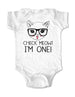 Check Meowt I'm ONE! Cat Design - Baby One-Piece Bodysuit, Infant, Toddler Shirt
