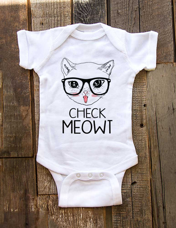 Check Meowt Cat Design - Baby One-Piece Bodysuit, Infant, Toddler Shirt