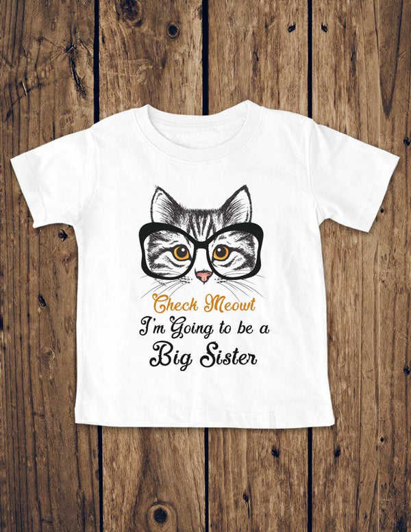 Check Meowt I'm going to be a Big Sister - funny cat with Big Eyeglasses - Baby One-Piece Bodysuit, Infant, Toddler Shirt