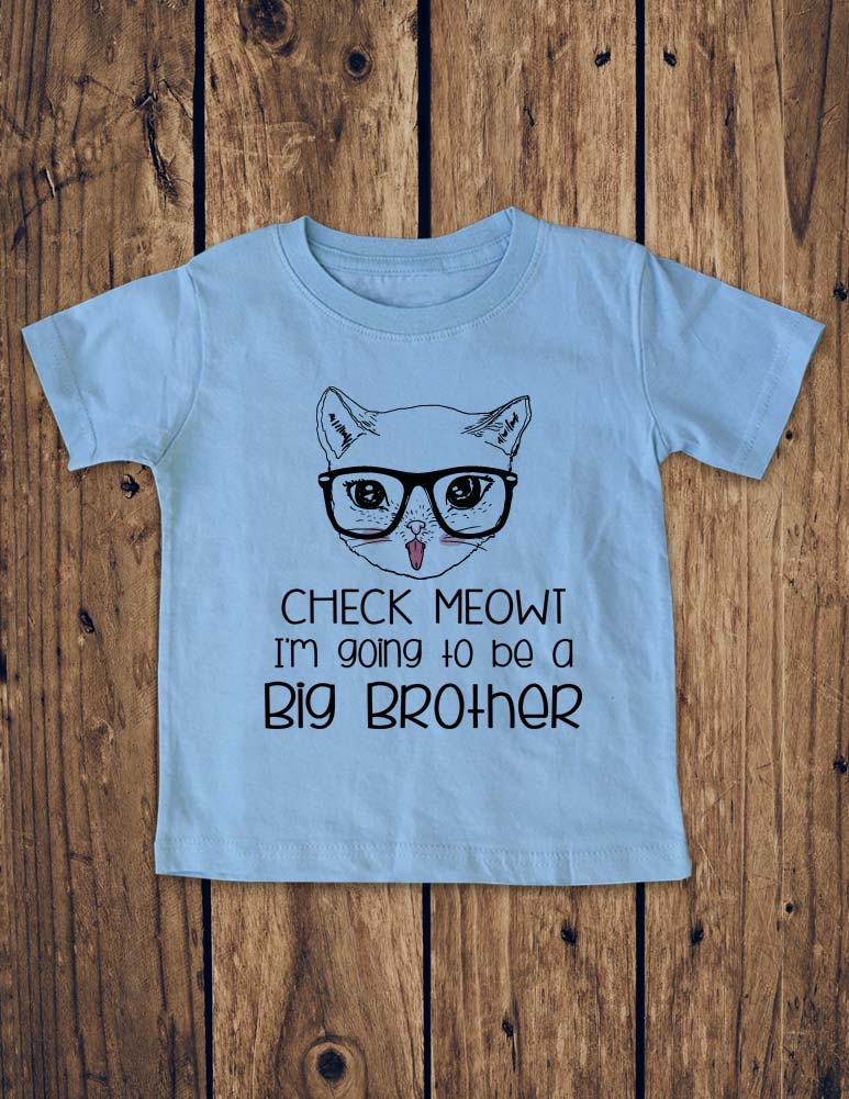 Check Meowt I'm going to be a Big Brother - Cat Design - Baby Bodysuit, Infant, Toddler Shirt