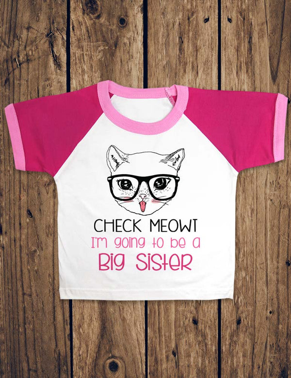 Check Meowt I'm Going To Be A Big Sister - Toddler & Youth Raglan color block Tee Shirt