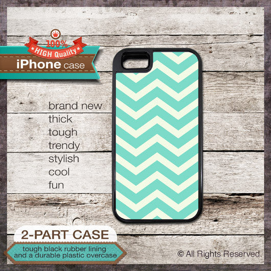 Modern Chevron 01 Teal Design - Choose from iPhone 4/4S, 5/5S, 5C, Samsung Galaxy S3 or S4 Case