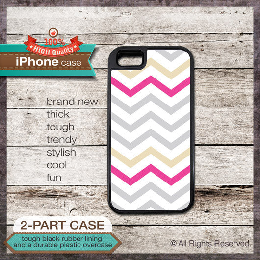 Modern Chevron 16 Greys and Pink Design - Choose from iPhone 4/4S, 5/5S, 5C, Samsung Galaxy S3 or S4 Case