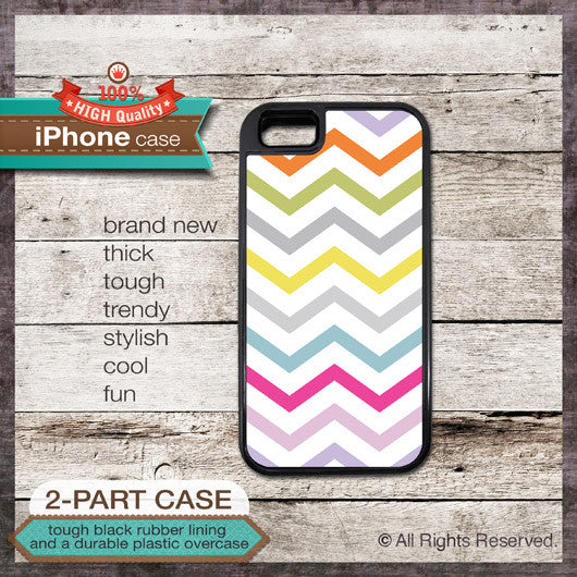 Modern Chevron 18 Multi-Color Design 1 - Choose from iPhone 4/4S, 5/5S, 5C, Samsung Galaxy S3 or S4 Case