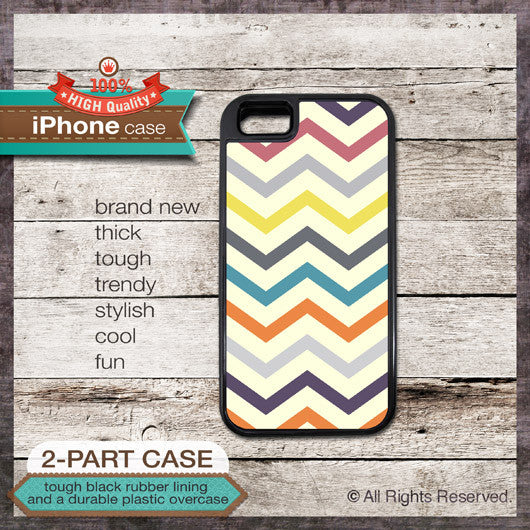 Modern Chevron 25 Multi-Color Design 2 - Choose from iPhone 4/4S, 5/5S, 5C, Samsung Galaxy S3 or S4 Case