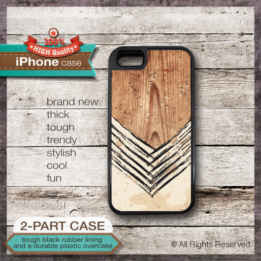 Chevron on Wood Design 01 - Choose from iPhone 4/4S, 5/5S, 5C, Samsung Galaxy S3 or S4 Case