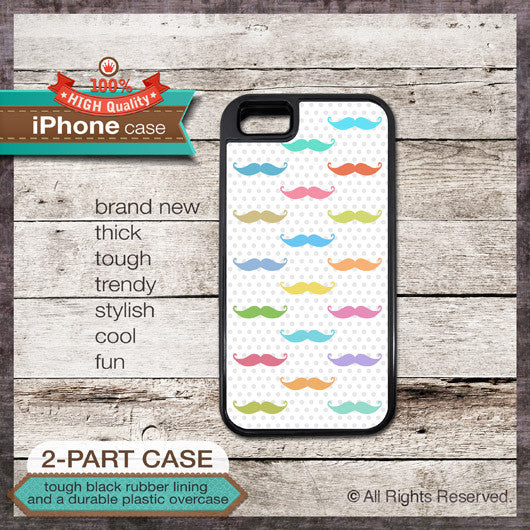 Colorful Mustaches Design - Choose from iPhone 4/4S, 5/5S, 5C, Samsung Galaxy S3 or S4 Case