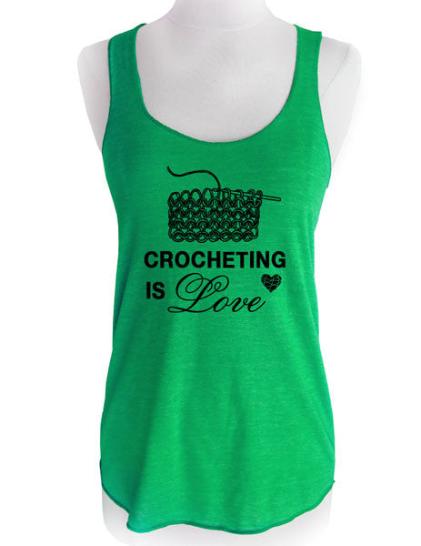 Crocheting is Love - Soft Tri-Blend Racerback Tank