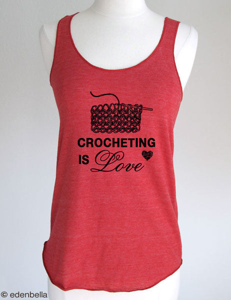 Crocheting is Love - Soft Eco-Heather Racerback Tank for Women