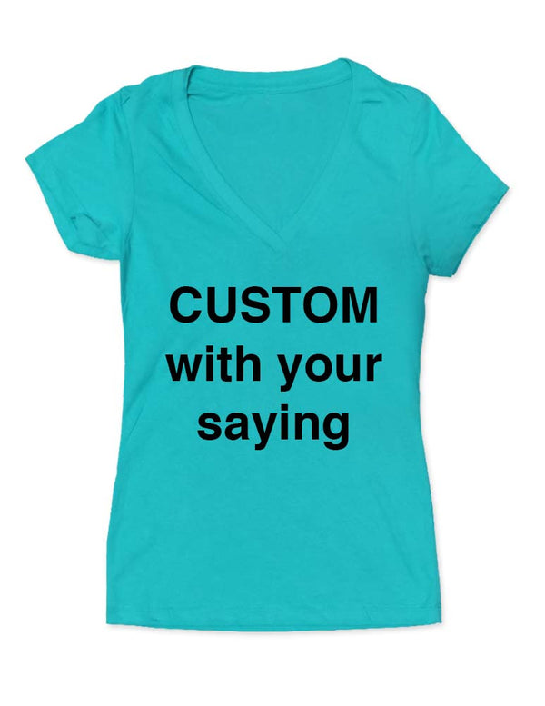 CUSTOM Personalized V Neck Tee Shirt Women's Super Soft Thin Lightweight Comfortable V-Neck Shirt