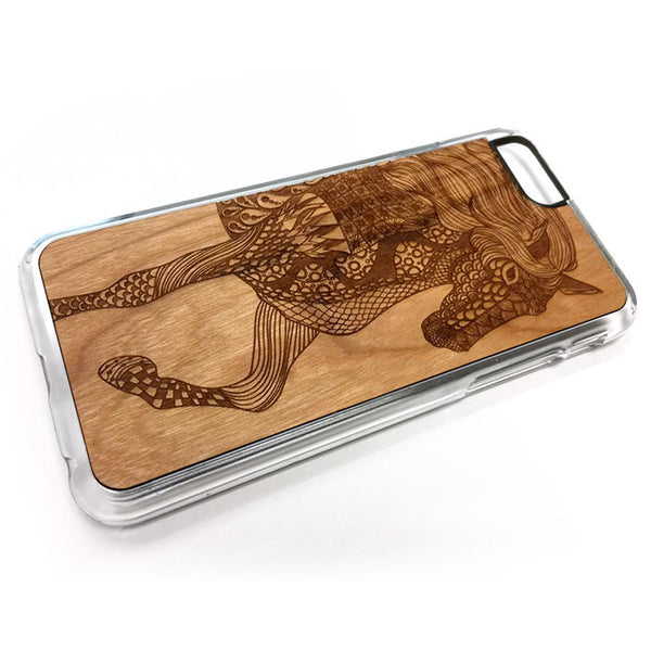Decorative Horse design3 iPhone Case Carved Engraved design on Real Natural Wood - For iPhone X/XS, 7/8, 6/6s, 6/6s Plus, SE, 5/5s, 5C, 4/4s
