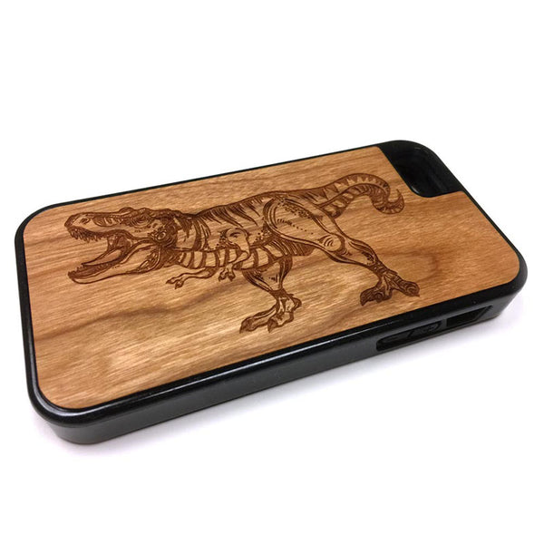 Dinosaur T Rex iPhone Case Carved Engraved design on Real Natural Wood - For iPhone X/XS, 7/8, 6/6s, 6/6s Plus, SE, 5/5s, 5C, 4/4s