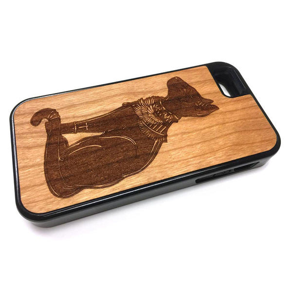 Egyptian Cat design iPhone Case Carved Engraved design on Real Natural Wood - For iPhone X/XS, 7/8, 6/6s, 6/6s Plus, SE, 5/5s, 5C, 4/4s