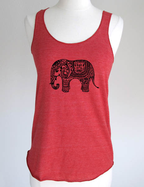 Elephant Indian design 3 - Soft Tri-Blend Racerback Tank