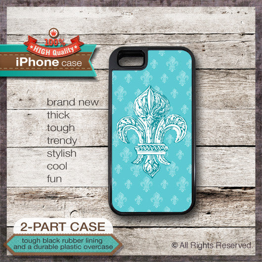 Fleur De Lis Design - Choose from iPhone 4/4S, 5/5S, 5C, Samsung Galaxy S3 or S4 Case