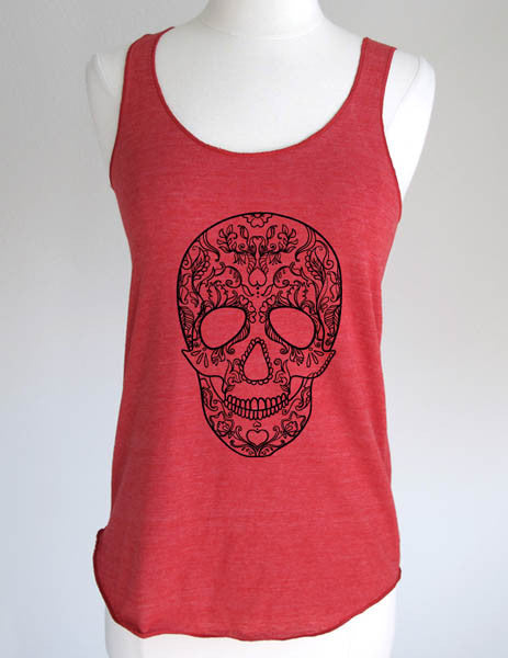 Floral Skull Design 1 - Soft Eco-Heather Racerback Tank for Women