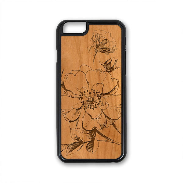 Flower 01 Close Up iPhone Case Carved Engraved design on Real Natural Wood - For iPhone X/XS, 7/8, 6/6s, 6/6s Plus, SE, 5/5s, 5C, 4/4s