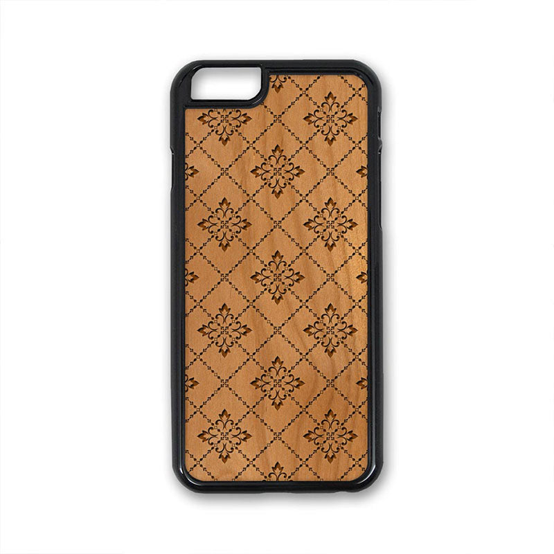 Flower Pattern 05 iPhone Case Carved Engraved design on Real Natural Wood - For iPhone X/XS, 7/8, 6/6s, 6/6s Plus, SE, 5/5s, 5C, 4/4s
