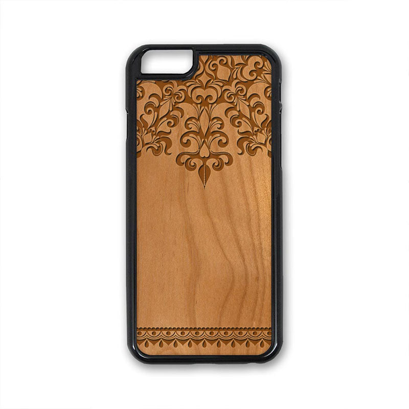 Flower Pattern 09 iPhone Case Carved Engraved design on Real Natural Wood - For iPhone X/XS, 7/8, 6/6s, 6/6s Plus, SE, 5/5s, 5C, 4/4s