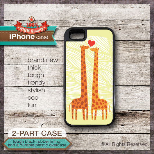 Giraffe Couple Design No. 5 - Choose from iPhone 4/4S, 5/5S, 5C, Samsung Galaxy S3 or S4 Case
